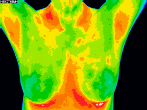 Image shows torso with breasts green and small patches of orange